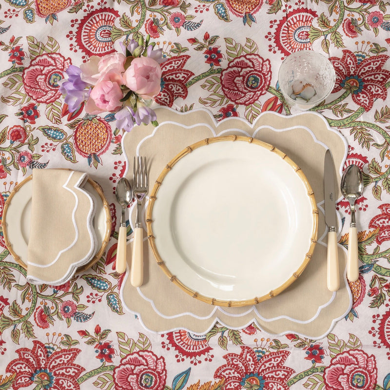 Nancy Sand Placemats & Napkins (Set of 4)