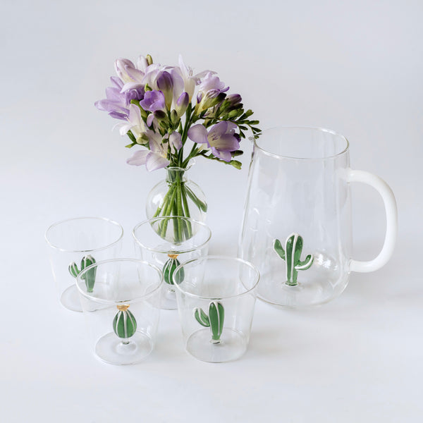 Cactus Jug and Glasses (set of 4)