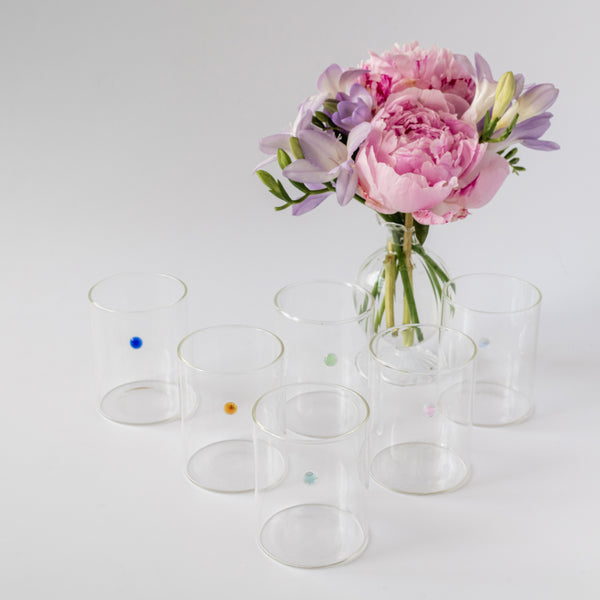 Rainbow Dot Water Glasses (Set of 6)
