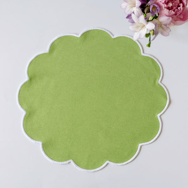 Scalloped Apple Green Placemats (set of 4)