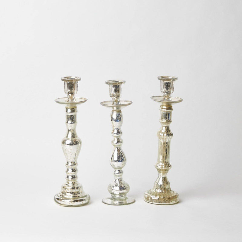 Tall Mercury Glass Candle Holder Trio