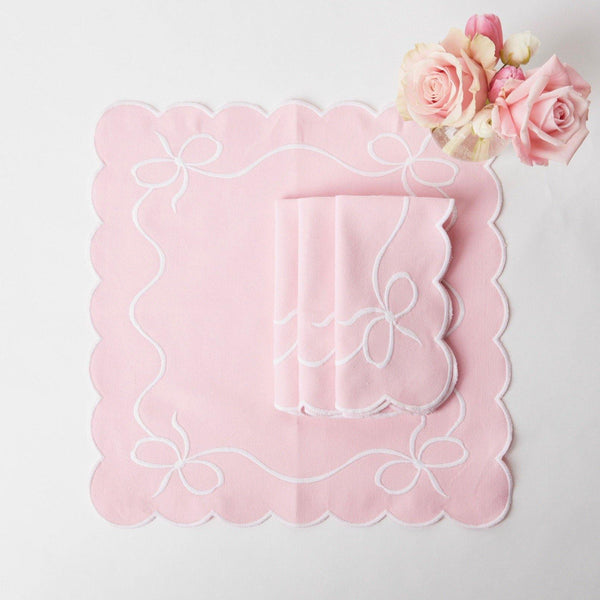 Pink Embroidered Bow Napkins (Set of 4)