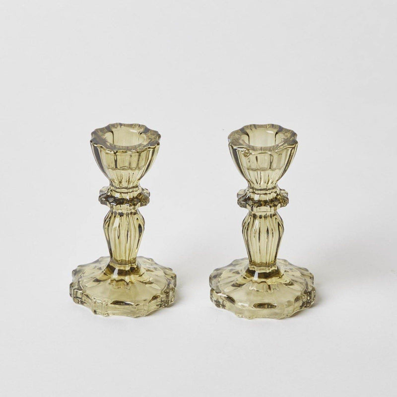 Small Green Lace Edge Candle Holders (Pair)