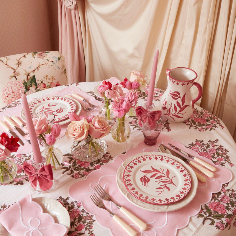 Pink Embroidered Bow Placemats & Napkins (Set of 4)