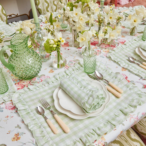 Pistachio Gingham Ruffle Linen Placemats & Napkins (Set of 4)