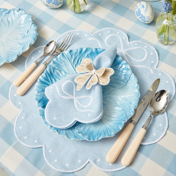 Celeste Blue Bow Placemats & Napkins (Set of 4)
