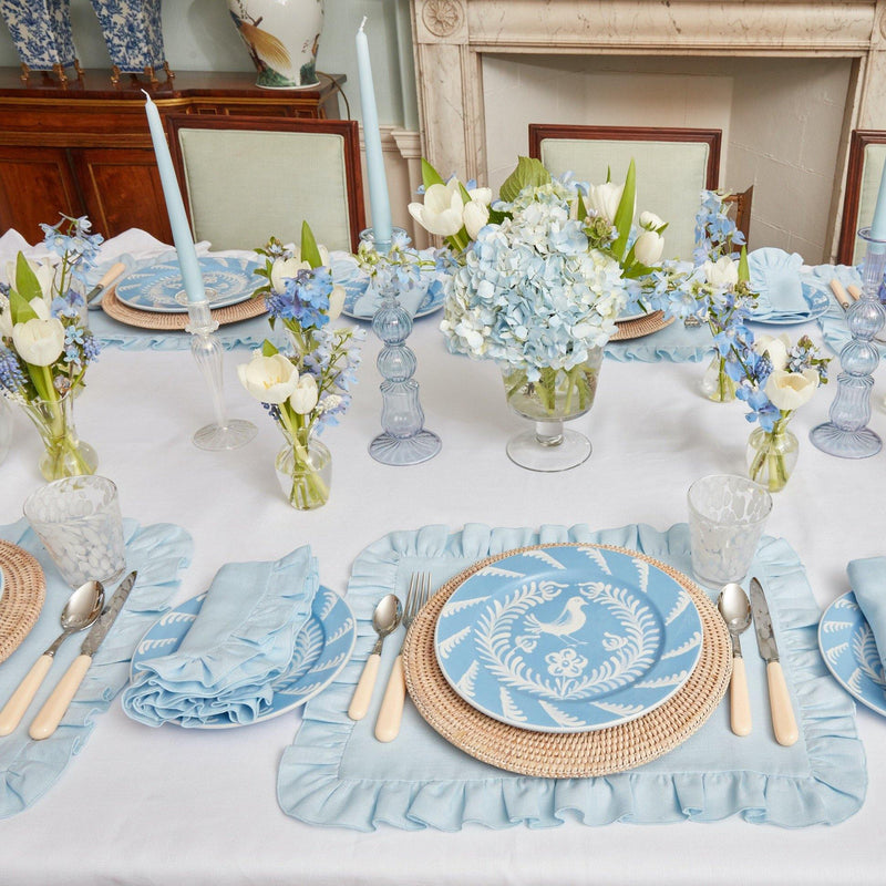 Sky Blue Ruffle Linen Napkins (Set of 4)
