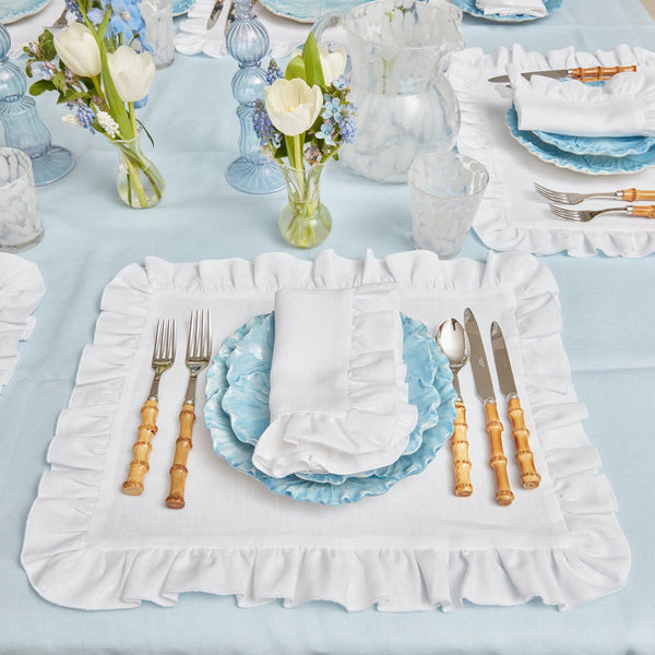White Ruffle Linen Placemats (Set of 4)