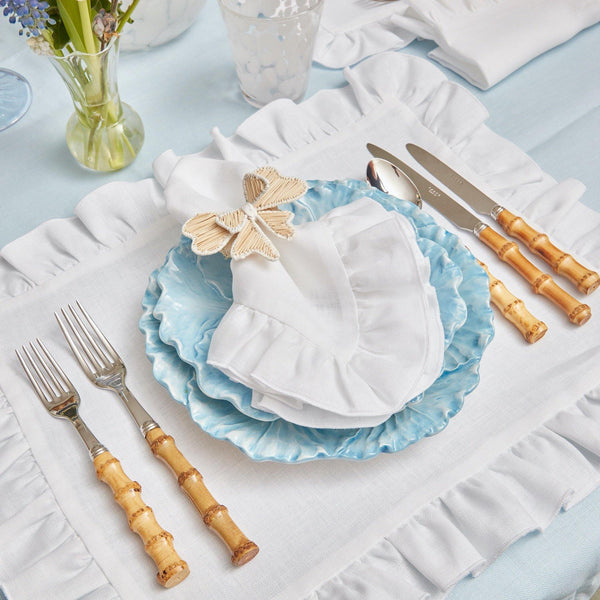 White Ruffle Linen Placemats & Napkins (Set of 4)