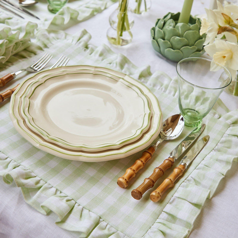 Pistachio Gingham Ruffle Linen Placemats (Set of 4)