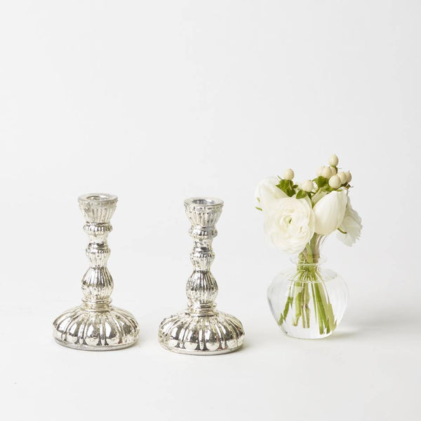 Frosted Mercury Candle Holders (Pair)