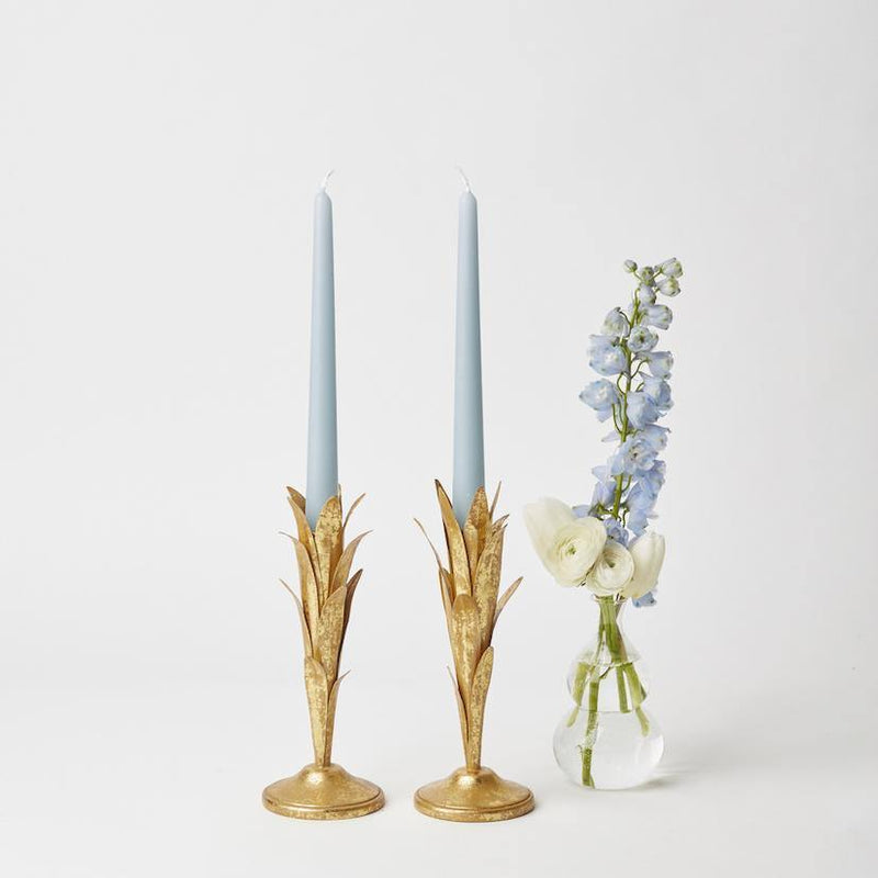 Gold Leaf Stem Candle Holders (pair)