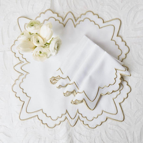 Frosted Gold Snowflake Embroidered Placemats (Set of 4)