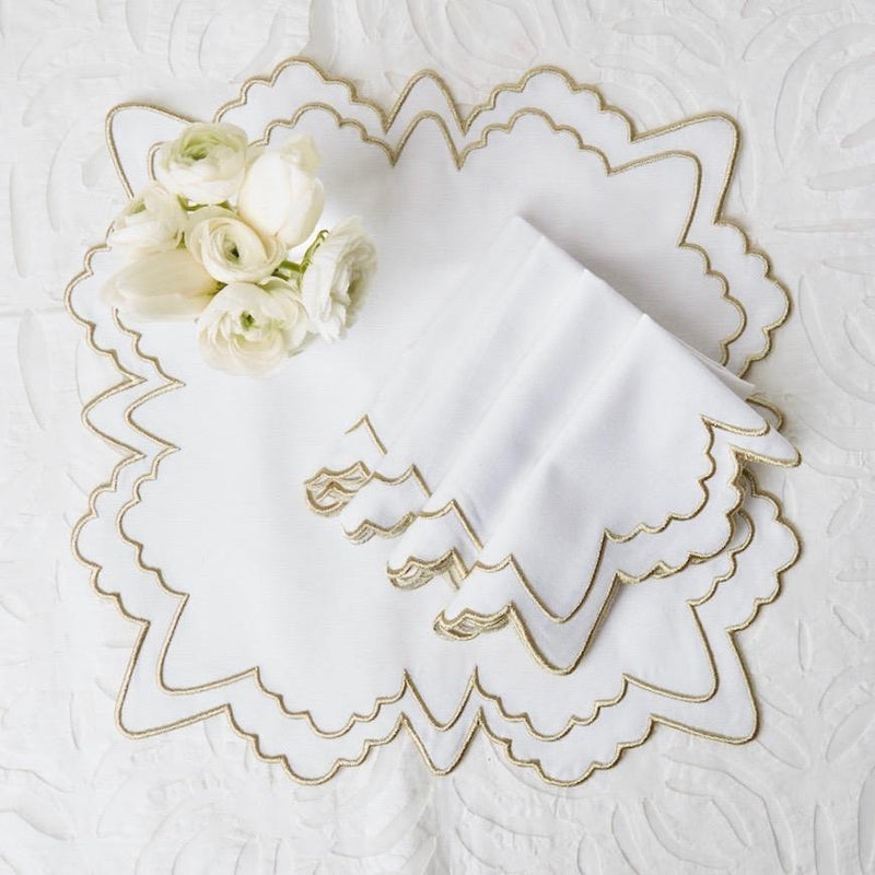 Frosted Gold Snowflake Embroidered Napkins (Set of 4)