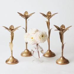 Set of Gold Leaf Candle Holders