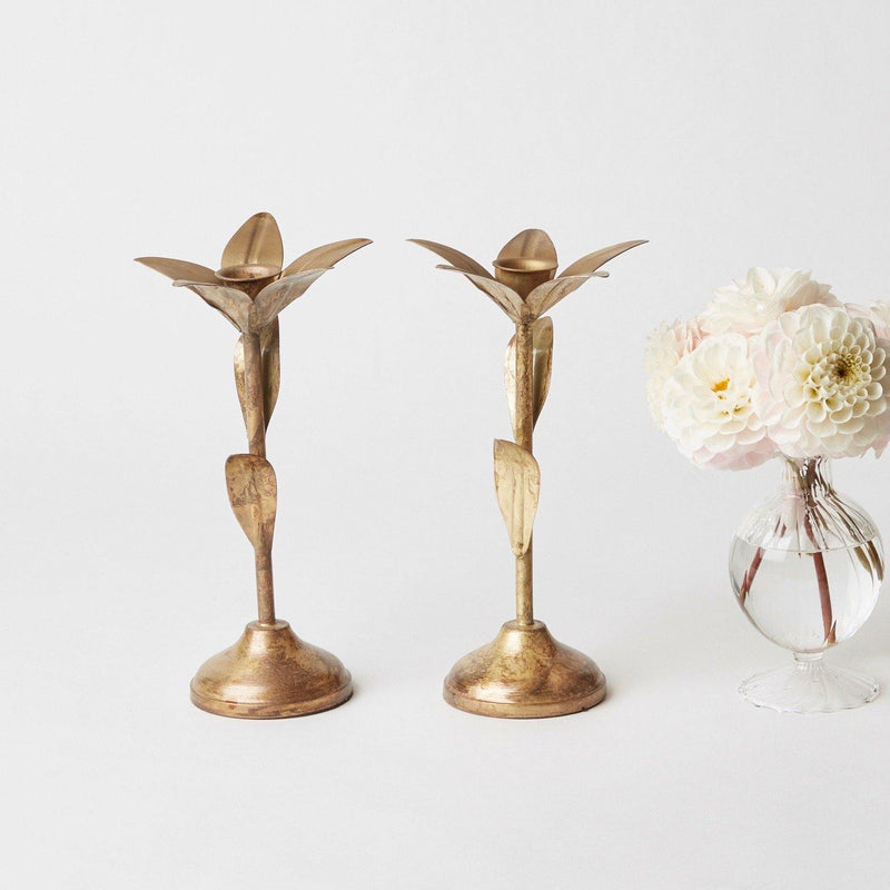 Gold Leaf Candlestick (Pair)