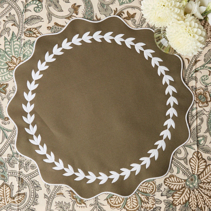 Olive Green Ivy Wreath Placemat