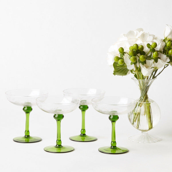 Green Stem Champagne Coupe (Set of 4)