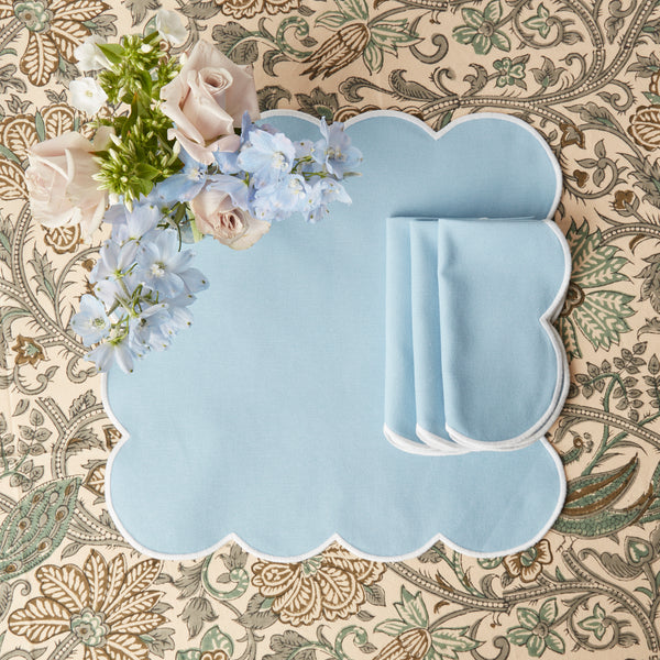 Scalloped Cornflower Blue Napkins (set of 4)