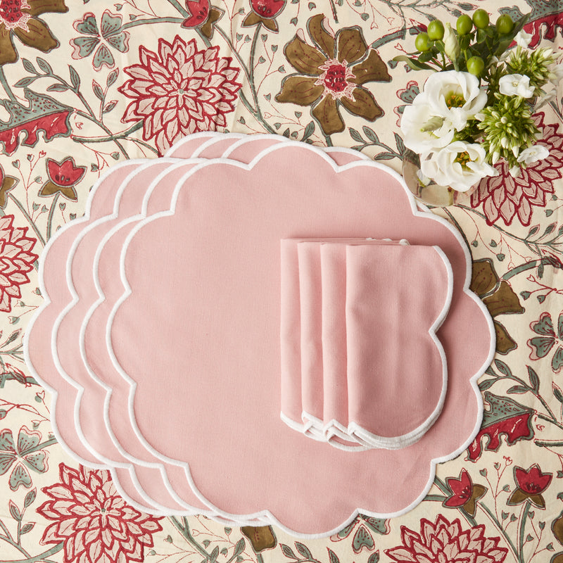 Scalloped Blush Pink Napkins & Placemats (Set of 4)