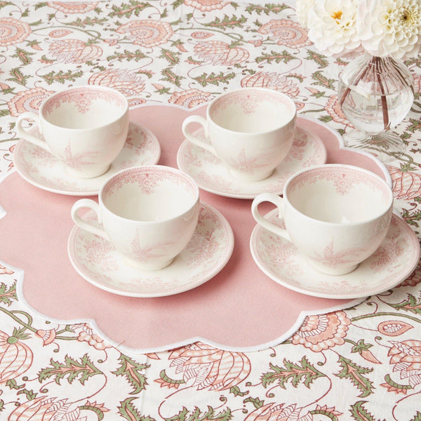 Pink Burleigh Tea Cup & Saucer (Set of 4)