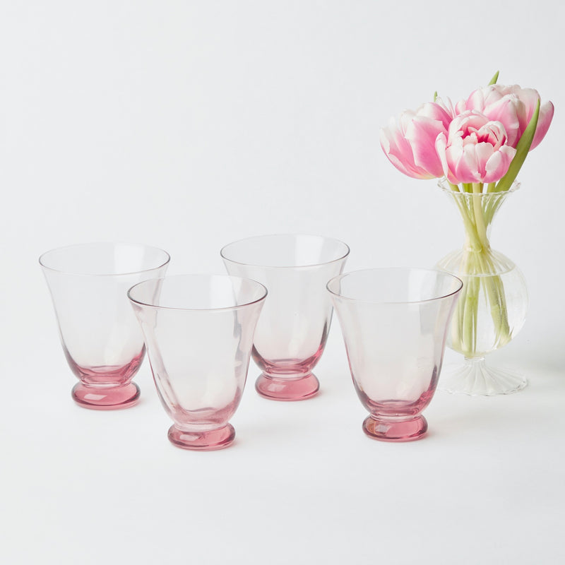 Pink Tulip Water Glasses (Set of 4)