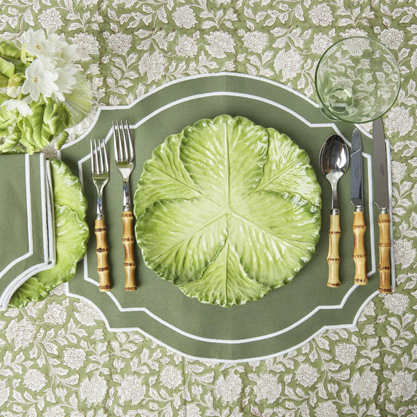 Forest Green Embroidered Placemats (Set of 4)