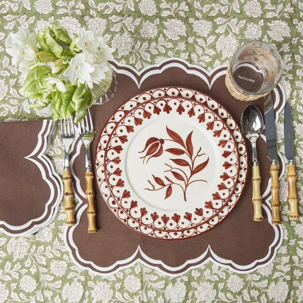 Serena Square Chocolate Placemats & Napkins (Set of 4)
