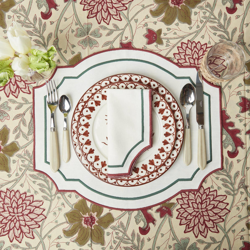 Candy Cane Embroidered Placemats & Napkins (Set of 4)