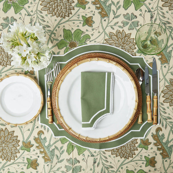 Forest Green Embroidered Napkins (Set of 4)