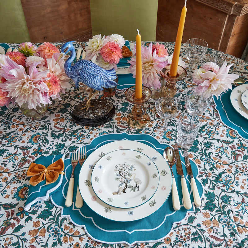 Poppy Dahlia Tablecloth Teal