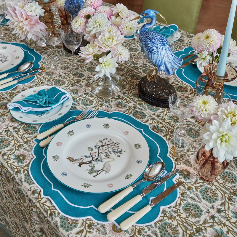 Teal Poppy Vine Tablecloth