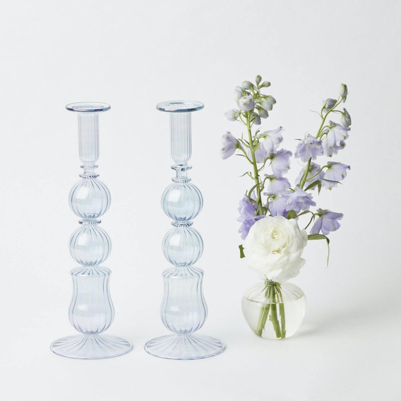 Delphine Blue Candle Holders (Pair)