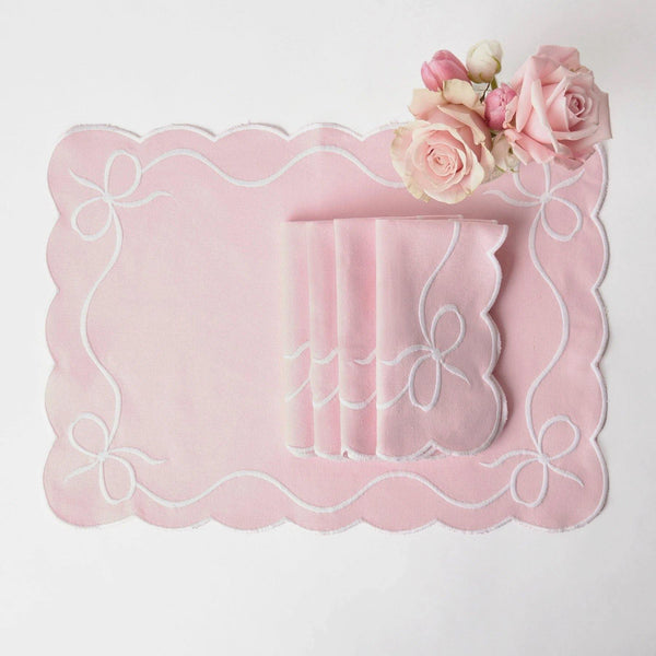 Pink Embroidered Bow Placemats (Set of 4)