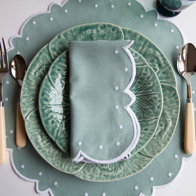 Duck Egg Blue Embroidered Napkins & Placemats (Set of 4)