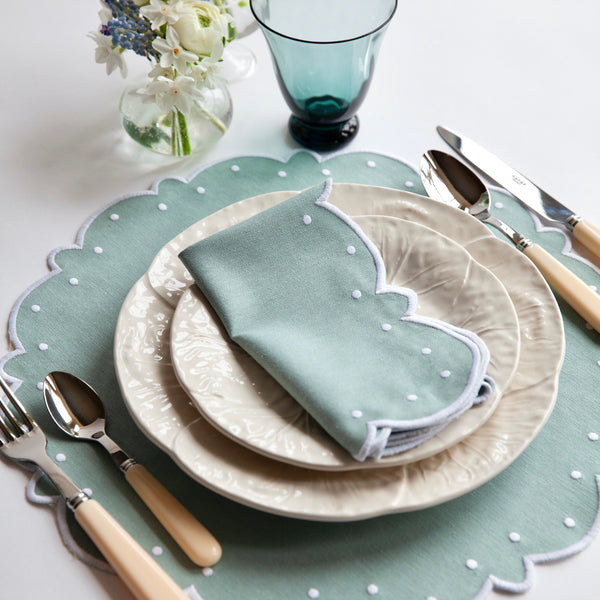 Duck Egg Blue Embroidered Napkins and Placemats (Set of 4)