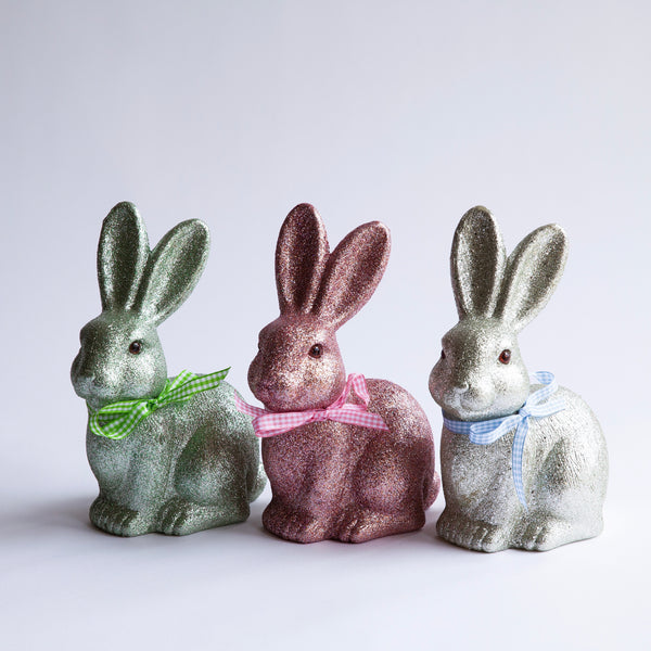 Set of 3 Glitter Bunnies with Gingham Bows