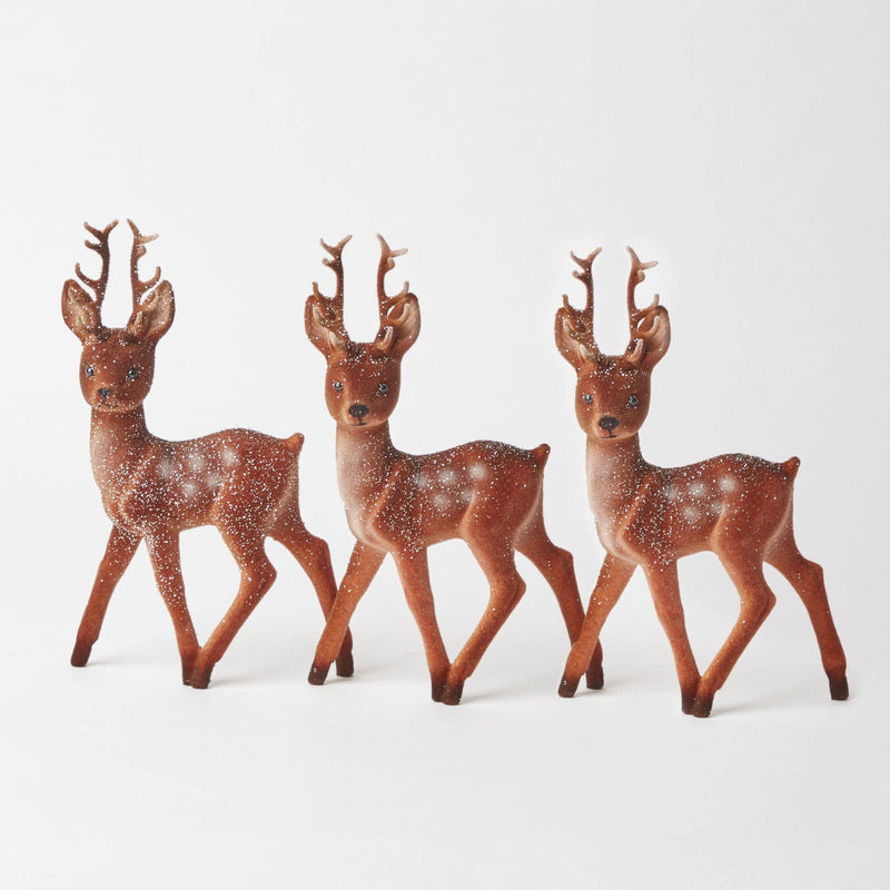 Flocked Bambi Reindeer (Trio)