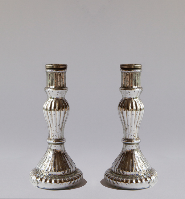Mercury-Glass Candlestick Holders - Pair