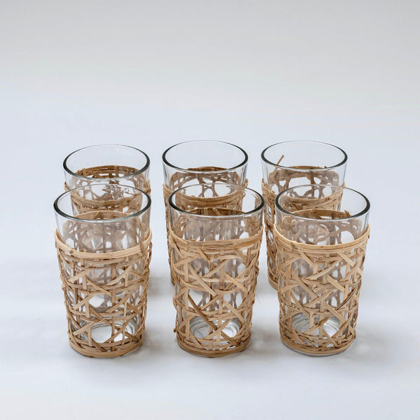 Bamboo Weave Water Glasses (Set of 6)