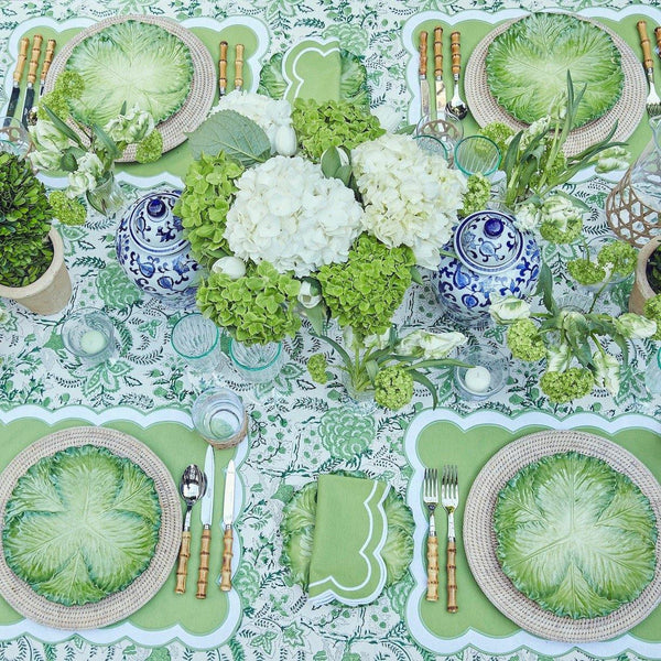 Serena Appliqué Green Placemats & Napkins (Set of 4)