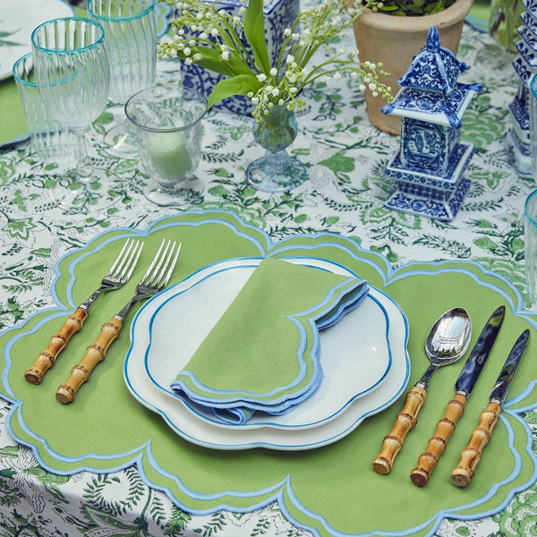 Serena Apple Green With Blue Placemats & Napkins  (Set of 4)