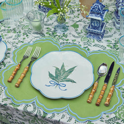 Serena Apple Green With Blue Placemats (Set of 4)