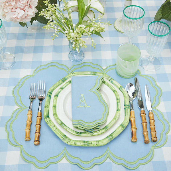 Serena Cornflower Blue With Green Napkins (Set of 4)