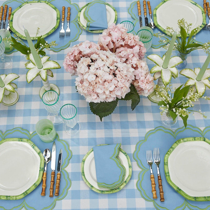 Serena Cornflower Blue With Green Placemats & Napkins (Set of 4)