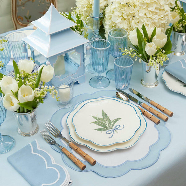 Serena Appliqué Blue Placemats & Napkins (Set of 4)