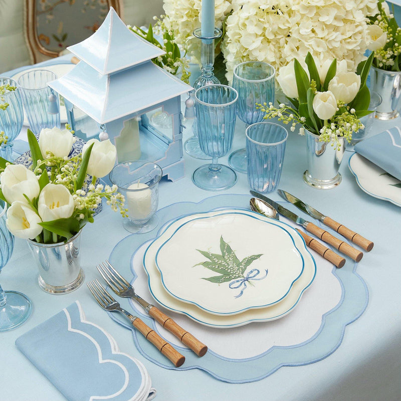 Sky Blue Ruffle Linen Tablecloth