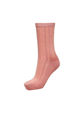Selected Femme Glitter Socks - Rose Tan