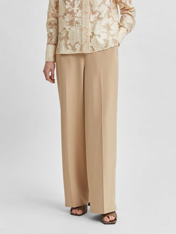 Selected Femme Wide Leg Trousers - Camel