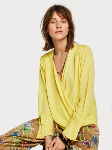 Maison Scotch Wrap Front Blouse